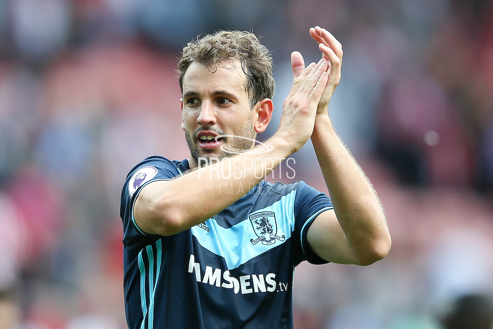 Middlesbrough forward Christian Stuani (18)  celebrates the victory after the final whistle during the Premier League match between Sunderland and Middlesbrough at the Stadium Of Light, Sunderland, England on 21 August 2016. Photo by Simon Davies.