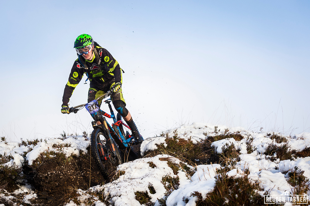 Ian Taylor descends through the snow on stage three of the Kinlochleven Enduro.