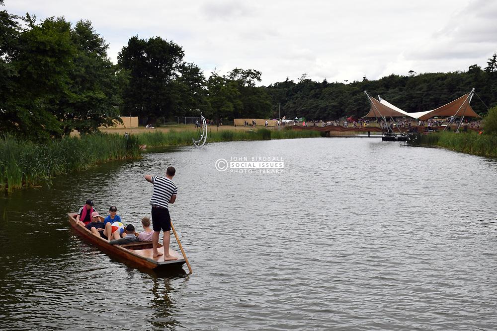 Latitude Festival 2017, Henham Park, Suffolk, UK. Punting on the lake
