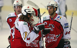 Players of Briancon celebrate a goal at ice hockey match EHC Liwest BW Linz of Austria vs HC DR Briancon of France during Summer league R. Hiti,  on August 29, 2008 in Arena Bled, Bled, Slovenia.  (Photo by Vid Ponikvar / Sportal Images)