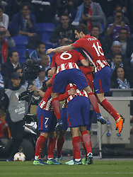 (L-R) Antoine Griezmann of Club Atletico de Madrid, Gabi of Club Atletico de Madrid, Koke of Club Atletico de Madrid, Sime Vrsaljko of Club Atletico de Madrid during the UEFA Europa League final match between Olympique Marseille and Atletico de Madrid at Stade de Lyon, on May 16, 2018 in Lyon, France