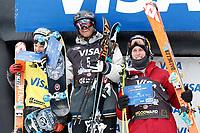 Freestyle<br /> FIS World Cup<br /> Copper Mountain USA<br /> 21.11.2012<br /> Foto: Gepa/Digitalsport<br /> NORWAY ONLY<br /> <br /> FIS Weltcup, Slopestyle, Herren, Siegerehrung. Bild zeigt Nicholas Goepper (USA), Andreas Håtveit (NOR) und Russell Henshaw (AUS).