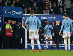 Fabian Delph of Manchester City (C) walks off the pitch after being shown a red card - Mandatory by-line: Jack Phillips/JMP - 26/12/2018 - FOOTBALL - King Power Stadium - Leicester, England - Leicester City v Manchester City - English Premier League