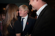 JEMIMA KHAN; BORIS JOHNSON; ZAC GOLDSMITH, Party to celebrate the publication of 'Winter Games' by Rachel Johnson. the Draft House, Tower Bridge. London. 1 November 2012.