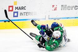 Aleksandar Magovac of HK SZ Olimpija and Chris Collins of EC Grand Immo VSV during ice hockey match between HK SZ Olimpija Ljubljana and EC GRAND Immo VSV in bet-at-home ICE Hockey League, on October 22, 2021 in Hala Tivoli, Ljubljana, Slovenia. Photo by Morgen Kristan / Sportida