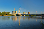 Canadian Museum for Human Rights (CMHR) and the Esplanade Riel Bridge and the Red River <br /> Winnipeg<br /> Manitoba<br /> Canada