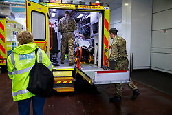 © Licensed to London News Pictures. 13/10/2014. LONDON, UK. Military personnel helping ambulance services at University College Hospital in London during a four-hour NHS strike, which involves nurses, midwives and ambulance staff in England in a dispute over pay. Photo credit : Tolga Akmen/LNP