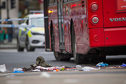 Licensed to London News Pictures. 28/09/2020. London, UK. Police guard an accident scene in Oxford Circus, central London. After a women has been hit by a bus. Photo credit: Marcin Nowak/LNP