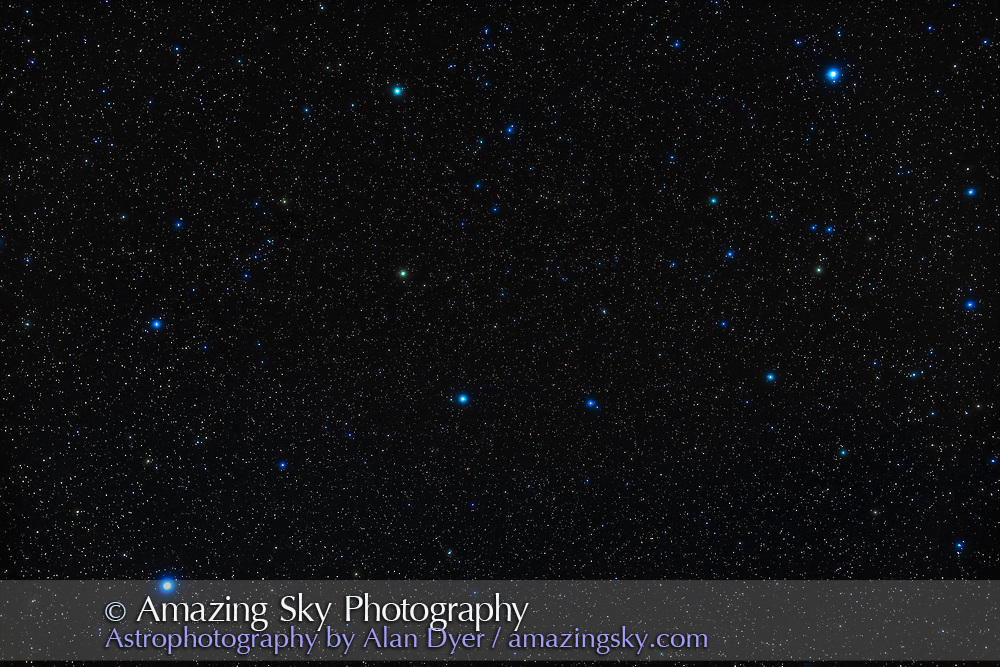 The northern spring constellation of Virgo, one of the constellations of the Zodiac. The bright star at lower left is Spica. Denebola in Leo is at top right. The field contains the realm of the galaxies in the Coma-Virgo galaxy cluster.  The double star Porrima is near centre. <br /> <br /> This is a stack of 7 x 2-minute exposures with the 50mm Sigma lens at f/2.8 and Canon 6D MkII at ISO 800, on the iOptron SkyGuider Pro tracker.  An exposure through the Kenko Softon A filter layered in adds the star glows. Taken on a very clear night April 24, 2020.