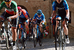 Alicia Gonzalez (ESP) battles up the cobbled climb at the 2020 Clasica Feminas De Navarra, a 122.9 km road race starting and finishing in Pamplona, Spain on July 24, 2020. Photo by Sean Robinson/velofocus.com