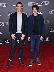 Celebrities arrive at the 'Rogue One: A Star Wars Story' movie premiere in Hollywood, California. 10 Dec 2016 Pictured: Cameron Mathison and Lucas Mathison. Photo credit: American Foto Features / MEGA TheMegaAgency.com +1 888 505 6342