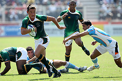MJ Mentz during the XIX Commonwealth Games 7s rugby match between South Africa and India held at The Delhi University in New Delhi, India on the  11 October 2010..Photo by:  Ron Gaunt/photosport.co.nz