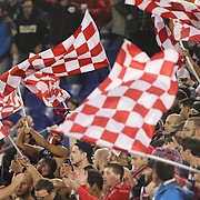 New York Red Bulls fans, in action during the New York Red Bulls Vs Toronto FC, Major League Soccer regular season match at Red Bull Arena, Harrison, New Jersey. USA. 11th October 2014. Photo Tim Clayton