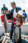 President Jimmy Carter and daughter Amy return from a salt water fishing trip off the coast of Sea Island, Georgia. 1977 - To license this image, click on the shopping cart below -