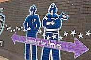 New York. street art, painting gloryfying america . Brooklyn,  Williamsburg  New York - United states  / graffitis, peinture glorifiant l amerique. Brooklyn Williamsburg