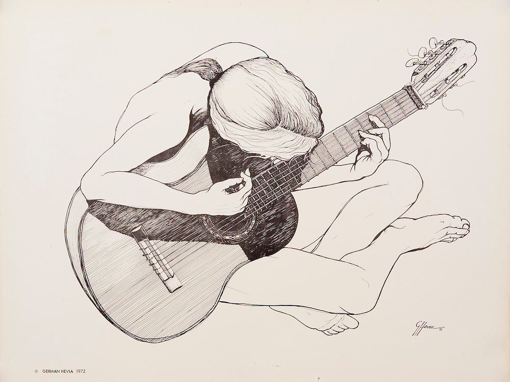 """Cat.#3 Lithographic print of Pen and Ink drawing of a girl playing a guitar. <br /> Printed on heavy, smooth stock. Paper size is 10x13"""". Image size is approximately 10 1/2 x 8 1/4"""" <br /> Cat. #3 - Impresión litográfica de un dibujo a plumilla de una muchacha sentada tocando guitarra. <br /> Impreso en papel grueso y liso.Tamaño del papel es 10 x 13"""". Tamaño de la imagen es aproximadamente 10 1/2x8 1/4"""""""