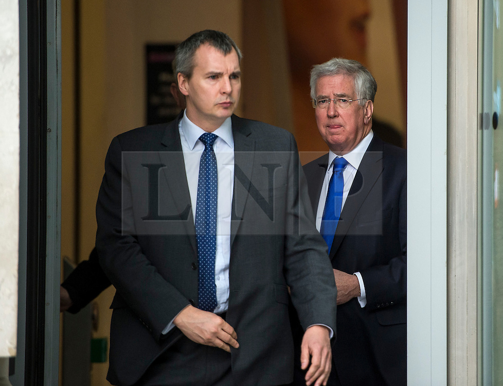 © Licensed to London News Pictures. 19/03/2016. London, UK. Defence minister MICHAEL FALLON (right) leaves BBC Broadcasting House in London after being interviewed about the resignation of former Work and Pensions secretary, Iain Duncan Smith.  Photo credit: Ben Cawthra/LNP