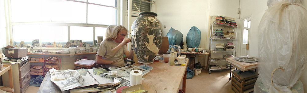 Grayson Perry at work in his studio in Walthamstow. London. 16 June 2006. ONE TIME USE ONLY - DO NOT ARCHIVE  © Copyright Photograph by Dafydd Jones 66 Stockwell Park Rd. London SW9 0DA Tel 020 7733 0108 www.dafjones.com