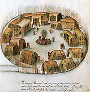 Native American Algonquin Indian village of Pomeiock, Gibbs Creek, North Carolina, showing huts and longhouses inside a protective palisade.  Sketch from observations made by English expedition under John White in 1585.