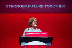 © Licensed to London News Pictures. 26/09/2021. Brighton, UK. MARGARET HODGE speaks . Delegates in the conference hall during a debate on new rules designed to counter anti-Semitism within the Labour Party. The second day of the 2021 Labour Party Conference , which is taking place at the Brighton Centre . Photo credit: Joel Goodman/LNP
