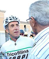 Federico Martín Bahamontes (r) and Pedro Delgado at the start of the XXIV Cycle March Pedro Delgado in Segovia. August 13,2017. (ALTERPHOTOS/Esther Duque)