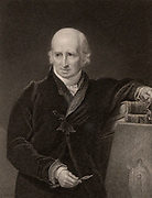 Benjamin West (1738-1820) American-born British painter who settled in London in 1763. As a portrait painter he changed the tradition of representing sitters in classical costume, showing them in contemporary dress instead. Engraving 1830.