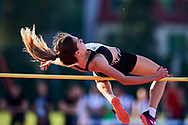 Poland, Radom - 2020 September 12: Julia Moszura (UKS Blyskawica Domaniewice) from Poland competes in women's high jump final while 74. PZLA Athletics Polish Championships U20 - Radom 2020 - Day#2 during pandemic COVID-19 at MOSiR Stadium on September 12, 2020 in Radom, Poland.<br /> <br /> Mandatory credit:<br /> Photo by © Adam Nurkiewicz<br /> <br /> <br /> Adam Nurkiewicz declares that he has no rights to the image of people at the photographs of his authorship.<br /> <br /> Picture also available in RAW (NEF) or TIFF format on special request.<br /> <br /> Any editorial, commercial or promotional use requires written permission from the author of image. Single publication only for informational, journalistic or documentary purposes inside a newspaper, magazine or book (digital versions allowed). One edition on the territory of one country. Resale is forbidden.<br /> <br /> Image can be used in the press when the method of use and the signature does not hurt people on the picture.