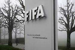 03.12.2015, FIFA headquarters, Zürich, SUI, FIFA Hauptquartier in Zürich, Kongress 2015, im Bild Eingang zum FIFA Hauptquartier im Nebel // The entrance to the FIFA headquarters in Zurich, cpvered in fog during the 2015 FIFA Congress at the FIFA headquarters in Zürich, Switzerland on 2015/12/03. EXPA Pictures © 2015, PhotoCredit: EXPA/ Freshfocus/ Steffen Schmidt<br /> <br /> *****ATTENTION - for AUT, SLO, CRO, SRB, BIH, MAZ only*****