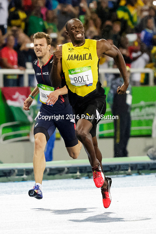 Rio de Janeiro, Brazil. 18 August 2016. Usain Bolt (JAM) wins the gold medal in the Men's 200m at the 2016 Olympic Summer Games. ©Paul J. Sutton/PCN Photography.
