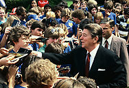 Reagan with youth group in Rose Garden in June 1986<br />Photo by Dennis Brack