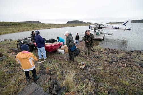 Guests arrive at Elu Lodge, Nunavut Canada