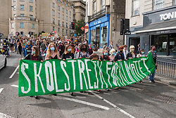 © Licensed to London News Pictures; 24/09/2021; Bristol, UK. The Bristol Youth Strike 4 Climate return this Friday to protest about the lack of progress by Bristol City Council in tackling the climate and ecological crisis, on issues of clean air, Bristol airport expansion and climate justice. This is their 1st demonstration in Bristol since the Covid coronavirus pandemic began. Simultaneous protests will take place in Cardiff, Manchester, Oxford and Glasgow. Photo credit: Simon Chapman/LNP.