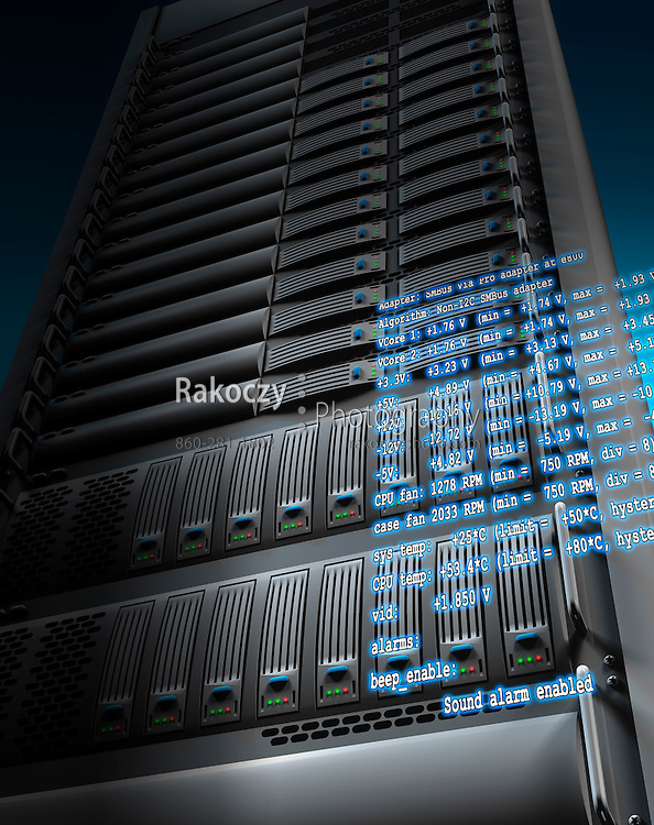 A 3D rendering of an equipment rack of server computers and hard disk storage arrays, with environmental data overlayed.