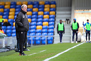 AFC Wimbledon manager Glyn Hodges stood on sideline and watching the game during the EFL Sky Bet League 1 match between AFC Wimbledon and Sunderland at Plough Lane, London, United Kingdom on 16 January 2021.