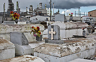 The Zion Travelers Cemetery in Reserve, Louisiana, in the heart of Cancer Alley. Next to the cemetery is the Marathon Refinery.