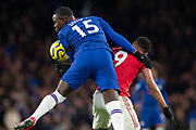 Kurt Zouma of Chelsea and Anthony Martial of Manchester United challenge for the ball during the English Premier League match between Chelsea and Manchester United at Stamford Bridge, Monday, Feb. 17, 2020, in London, United Kingdom. Manchester United defeated Chelsea 2-0.(Salvio Calabrese/Image of Sport)