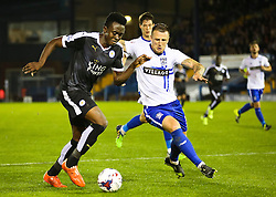 Joe Dodoo of Leicester City attacks - Mandatory byline: Matt McNulty/JMP - 07966386802 - 25/08/2015 - FOOTBALL - Gigg Lane -Bury,England - Bury v Leicester City - Capital One Cup - Second Round