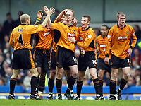 Photo: Scott Heavey. Digitalsport<br /> Chelsea v Wolverhampton Wanderers. FA Barclaycard Premiership. 27/03/2004.<br /> Jody Craddock (centre) celebrates the second for Wolves