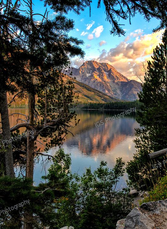 Mount Moran at sunrise, viewed from Jenny Lake Overlook, Grand Teton National Park