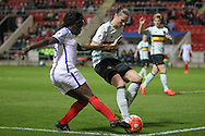 Eniola Aluko (England) crosses the ball in injury time of the Euro 2017 qualifier between England Ladies and Belgium Ladies at the New York Stadium, Rotherham, England on 8 April 2016. Photo by Mark P Doherty.