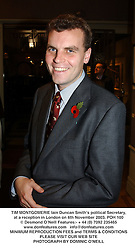 TIM MONTGOMERIE Iain Duncan Smith's political Secretary, at a reception in London on 6th November 2003.POH 100