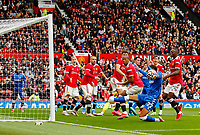 Football - 2021 / 2022 Pre-Season Friendly - Manchester United vs Everton - Old Trafford - Saturday 7th August 2021<br /> <br /> Ben Godfrey of Everton just fails to get on the end of an Everton corner, at Old Trafford.<br /> <br /> COLORSPORT/ALAN MARTIN