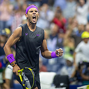 2019 US Open Tennis Tournament- Day Eight.  Rafael Nadal of Spain celebrates his victory against Marin Cilic of Croatia in the Men's Singles round four match on Arthur Ashe Stadium during the 2019 US Open Tennis Tournament at the USTA Billie Jean King National Tennis Center on September 2nd, 2019 in Flushing, Queens, New York City.  (Photo by Tim Clayton/Corbis via Getty Images)