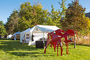 Big red horse, metal art, Ritter Island, Thousand Springs Art Festival, Hagerman, Idaho.