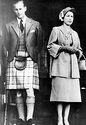 Feb. 6, 1952 - Braemar, Scotland, U.K. - The elder daughter of King George VI and Queen Elizabeth, ELIZABETH WINDSOR (named Elizabeth II) became Queen at the age of 25, and has reigned through more than five decades of enormous social change and development. PICTURED: QUEEN ELIZABETH II and PRINCE PHILIP Duke of Edinburgh during Scottish celebration Braemar Highland Gathering.  (Credit Image: © Keystone Press Agency/Keystone USA via ZUMAPRESS.com)