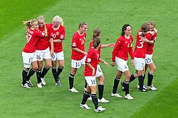 06-07-2011 VOETBAL: FIFA WOMENS WORLDCUP 2011 AUSTRALIA - NORWAY: LEVERKUSEN<br /> Jubel  nach dem 0:1 durch Elise Thorsnes (Norgwegen) (2L)  mit ihren Mitspielerinnen<br /> ***NETHERLANDS ONLY***<br /> ©2011-FRH- NPH/Mueller