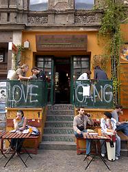 Bohemian cafe and bar on Kastanienallee in Prenzlauer Berg District of Berlin Germany