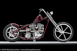 A custom motorcycle built from a 1949 Shovelhead, by Donny Loos. Photographed by Michael Lichter in Charlotte, SC, USA on 1/24/19. ©2019 Michael Lichter.