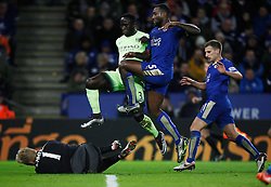 Kasper Schmeichel of Leicester City (L) saves from Bacary Sagna of Manchester City (C)  - Mandatory byline: Jack Phillips/JMP - 07966386802 - 29/12/2015 - SPORT - FOOTBALL - Leicester - King Power Stadium - Leicester City v Manchester City - Barclays Premier League