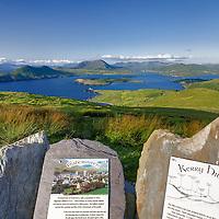 View on Cahersiveen, Begenish Island and Valentia Lighthouse from Geokaun Platform, County Kerry, ireland / vl100